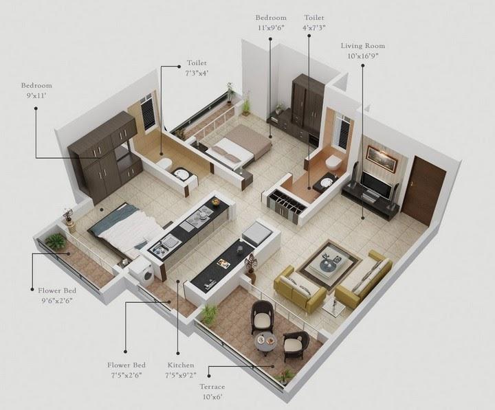 penthouse interior 3d floorplan rendering