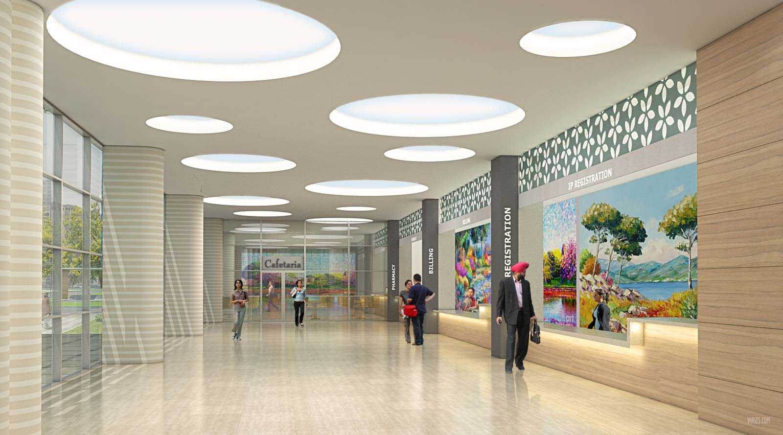 architectural rendering hospital lobby interior