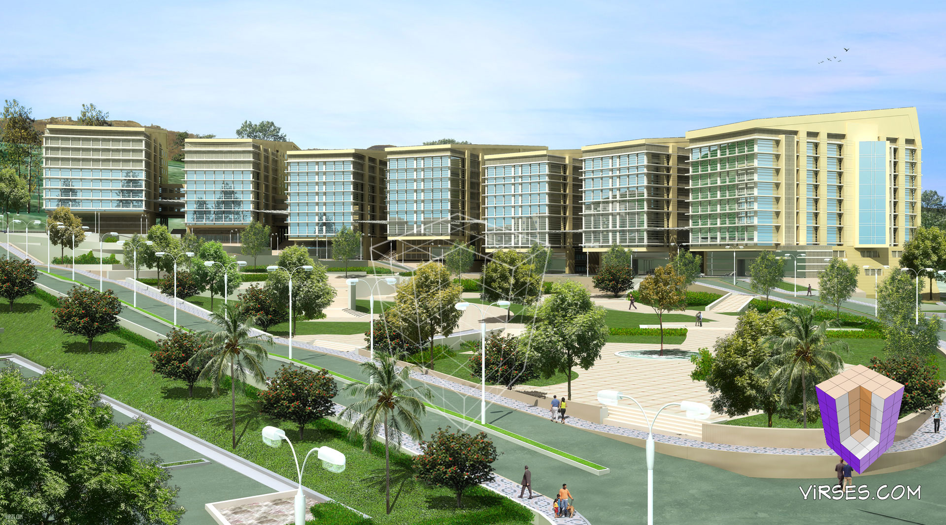 3d architectural rendering for a hospital complex