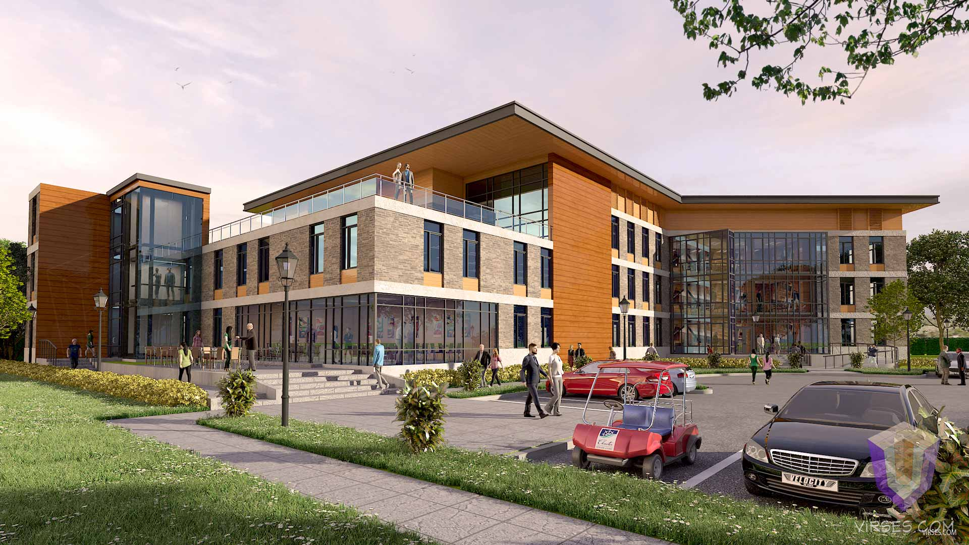 modern life center 3d architctural rendering