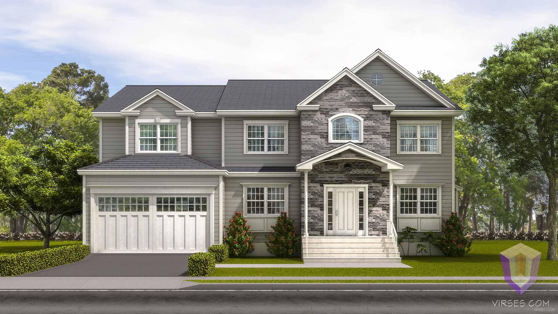 duplex home 3d rendering