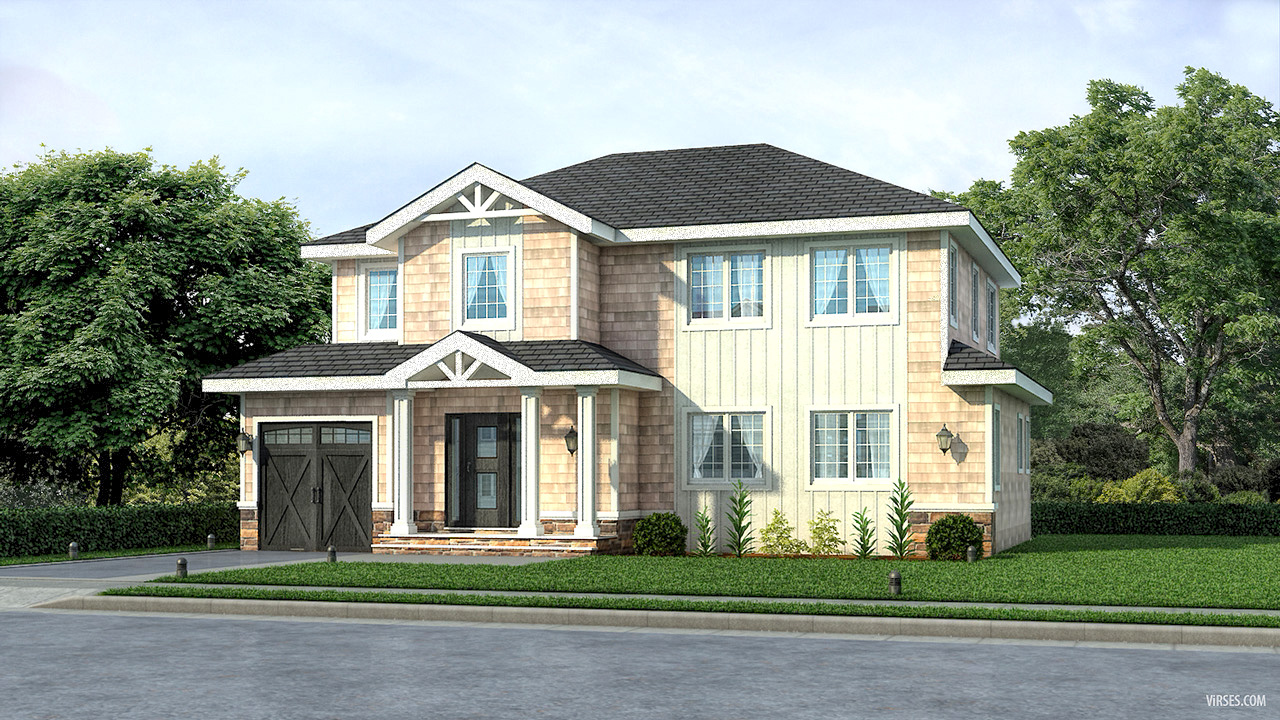 Exterior rendering for House in PlainView NewYork Architectural Visualization