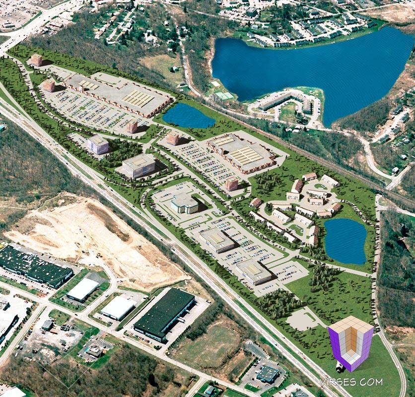 Aerial township 3d rendering housing development